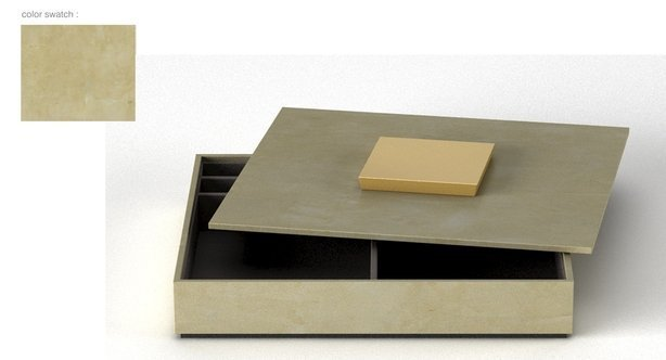 Stationery box warm gray w-gold and black pyramid handle-614-xxx_q85